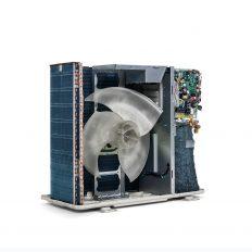 Das Innenleben der Außeneinheit einer Split-Klimaanlage. Der Wärmetauscher ist links und rückseitig vom Ventilator. Hier zirkuliert das Kältemittel und gibt die Raumwärme ab. Der Ventilator transportiert die Wärme in die Umgebungsluft. Der Kompressor zum Verdichten des Kältemittels ist rechts, verdeckt von der Steuerungselektronik.