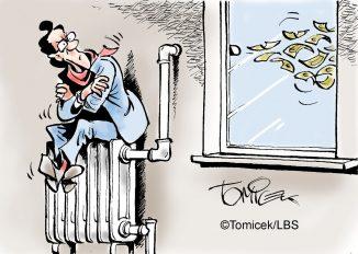 Die Karikatur zeigt einen frierenden Mann, der auf einer Heizung sitzt und sieht, wie Geld durch den Schornstein entweicht.
