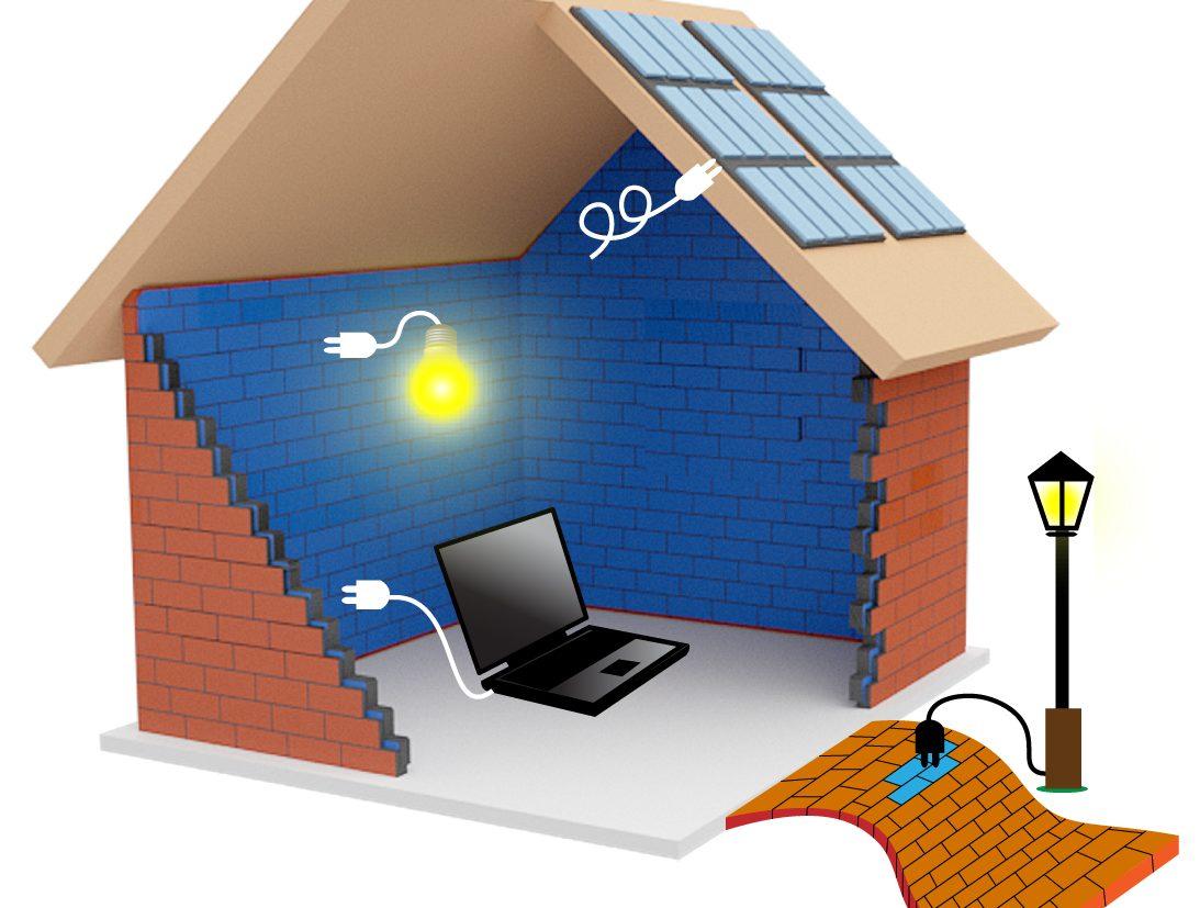 Energiespeichernde-Ziegelsteine für Notstrombeleuchtung