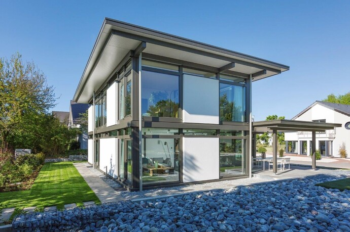 Der neue Fachwerkbau mit Flachdach von HUF HAUS vereinigt moderne Wohnkultur mit Komfort und Nachhaltigkeit.