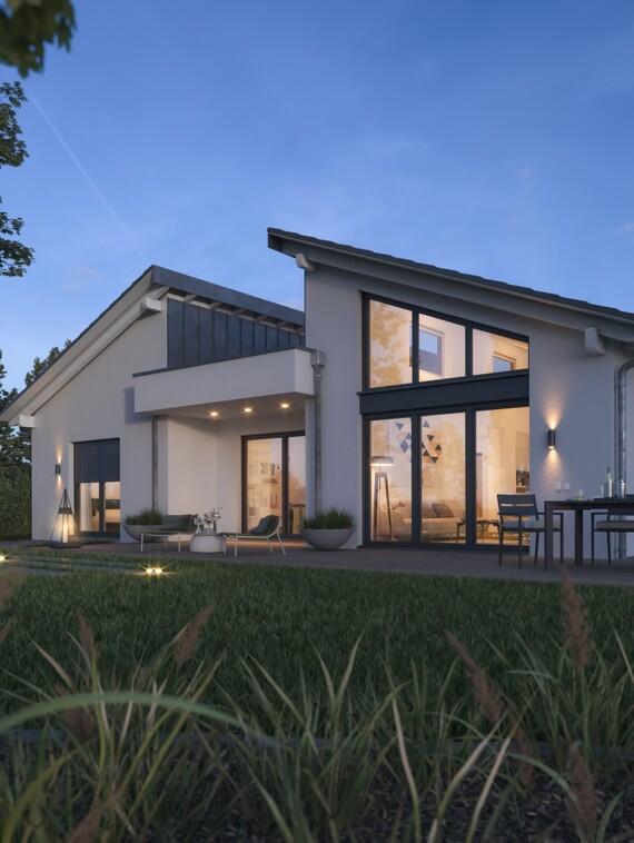 """Eine überraschende Architektur als Ausdruck eines überaus interessanten Hauskonzeptes: der neue, fast CO2-neutral bewohnbare Bungalow-Typ von """"Nordhaus"""". (Foto: Nordhaus)"""