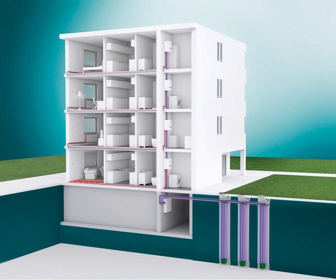 Eine exemplarische Darstellung veranschaulicht, wie Erdwärme zum Heizen in ein Wohnhaus gelangt.